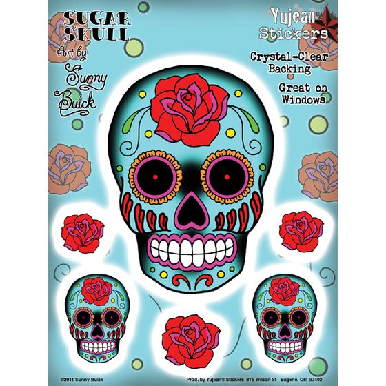Aufkleber Set Rose Sugar Skull