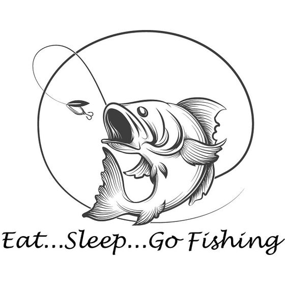 Eat, Sleep, Go Fishing Aufkleber