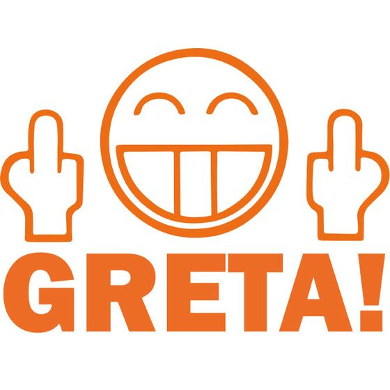 Aufkleber Fuck You Face Greta! orange