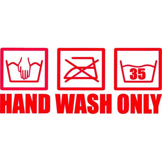 Hand Wash Only Autoaufkleber rot geplottet