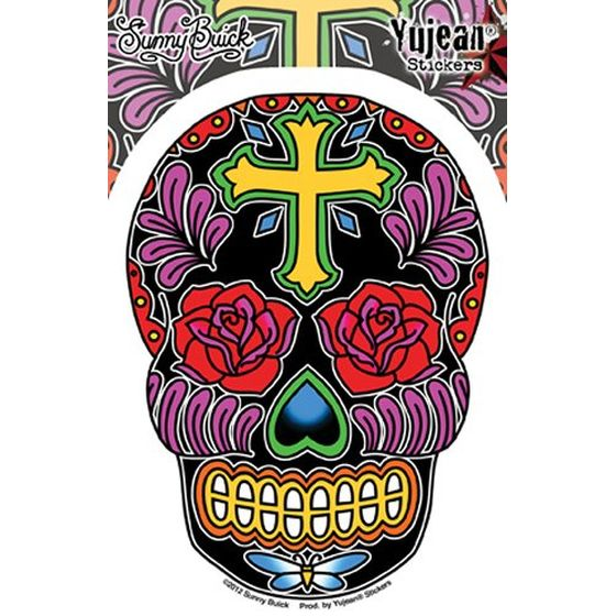 Aufkleber Rose Cross Sugar Skull
