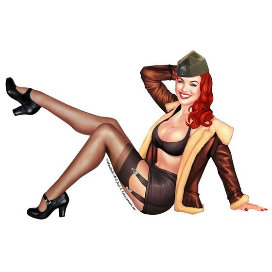 Pinup Aufkleber Army Girl