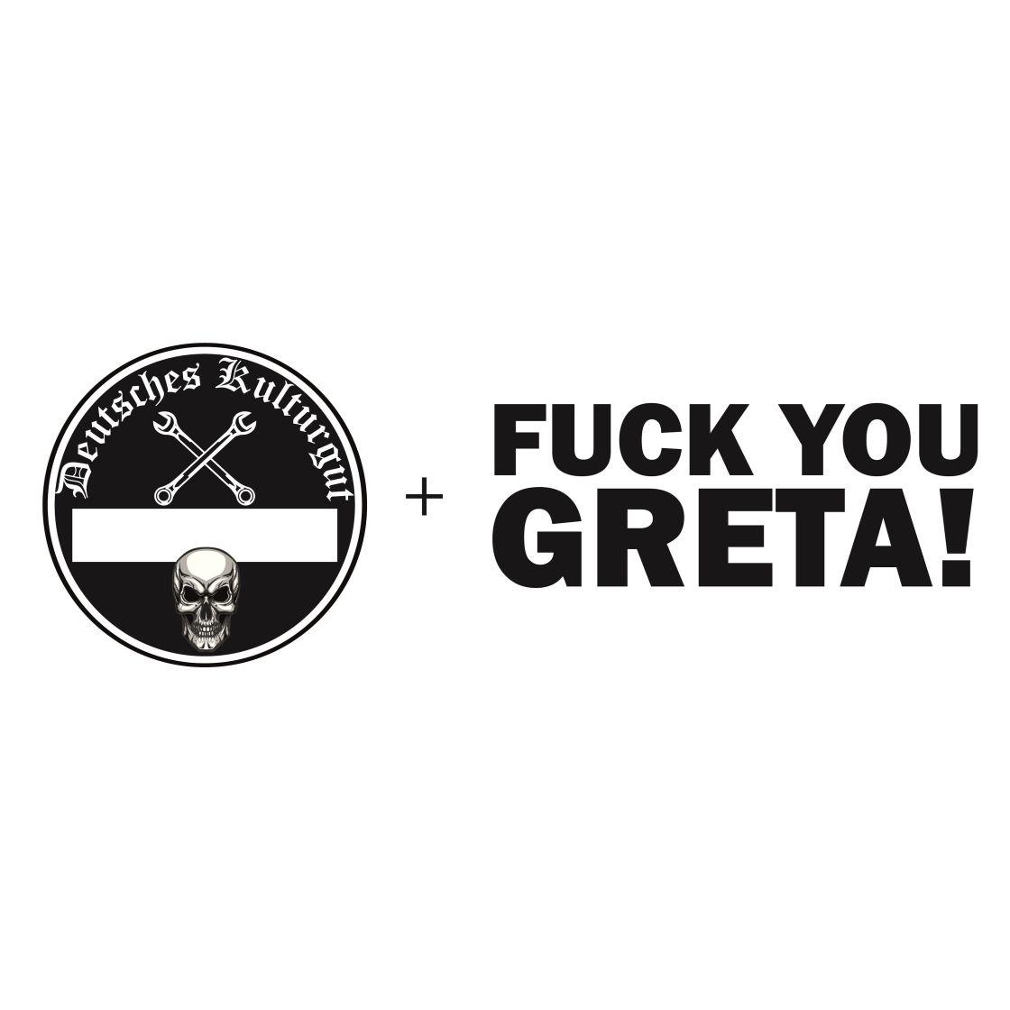 Aufkleber Set Plakette Deutsches Kulturgut Geplotteter Fuck You Greta Aufkleber Schwarz